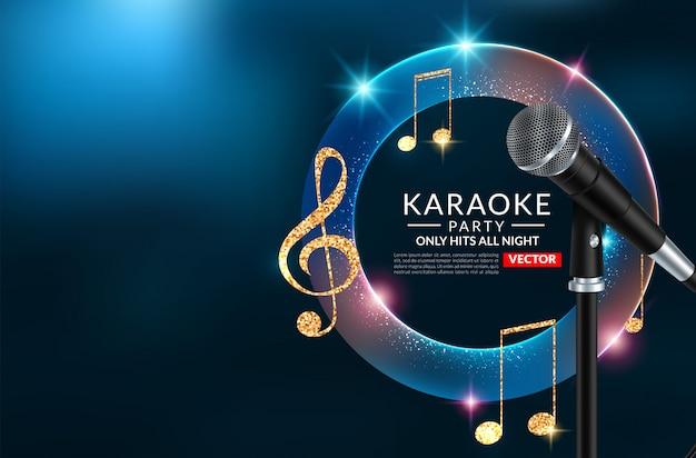 Modello di poster invito karaoke partito, volantino notturno karaoke