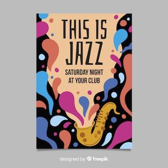 Modello di poster jazz astratto disegnato a mano
