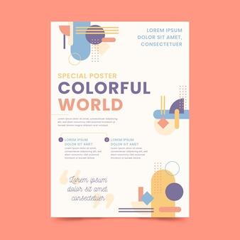 Modello di poster mondo colorato