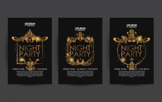 Modello di poster o flyer festa di lusso di notte