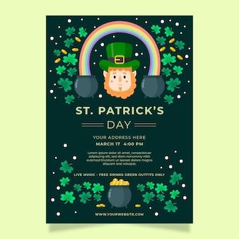 Modello di poster o flyer festa di san patrizio con leprechaun e trifogli