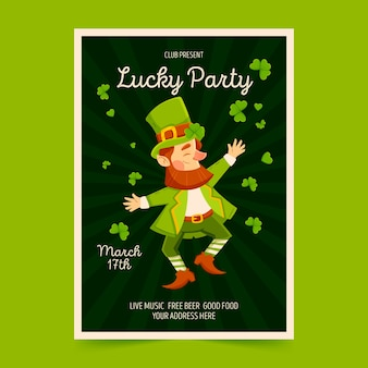 Modello di poster o flyer festa di san patrizio con leprechaun