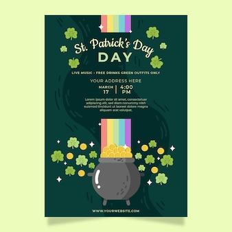 Modello di poster o flyer festa di san patrizio con trifogli e monete