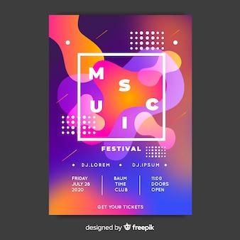 Modello di poster o flyer festa festival di musica