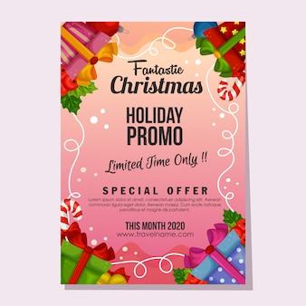 Modello di poster o flyer vacanza fantastica vendita di natale promozionale