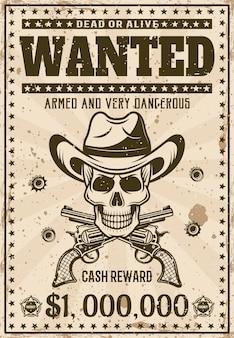 Modello di poster occidentale vintage ricercato con teschio da cowboy nel cappello, pistole incrociate e fori di proiettile