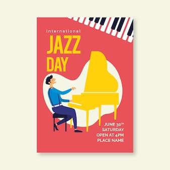 Modello di poster per la giornata internazionale del jazz
