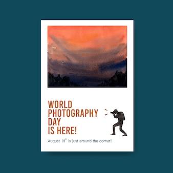 Modello di poster per la giornata mondiale della fotografia