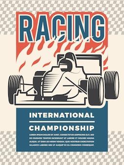 Modello di poster per motosport. illustrazioni d'epoca di auto da corsa