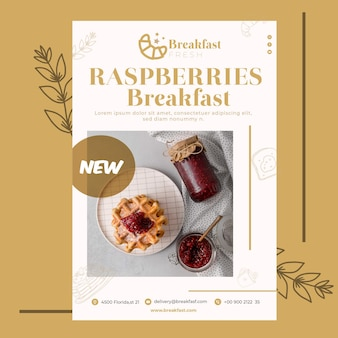 Modello di poster per ristorante per la colazione