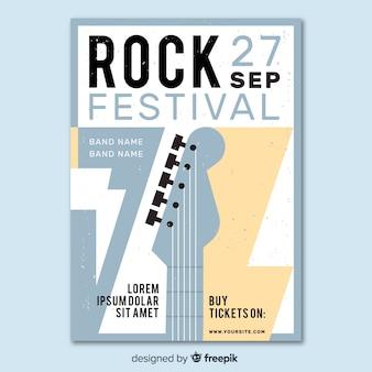 Modello di poster retrò festival di musica rock