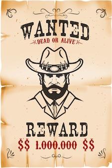 Modello di poster ricercato vintage con sfondo texture di carta vecchia. tema del selvaggio west. illustrazione