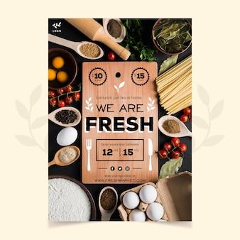 Modello di poster ristorante cibo sano con foto