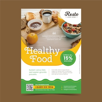 Modello di poster ristorante cibo sano