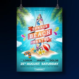 Modello di poster summer beach party design con fiore e tavola da surf.
