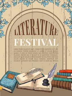 Modello di poster vintage con illustrazioni di libri e strumenti di scrittura a mano per scrittori