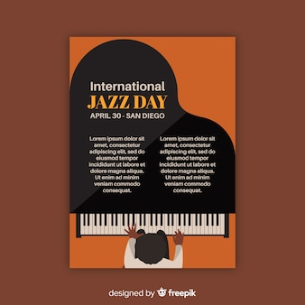 Modello di poster vintage jazz internazionale di giorno