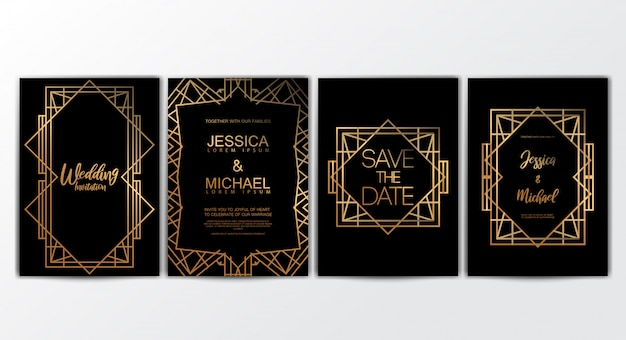 Modello di premium premium wedding invitation cards