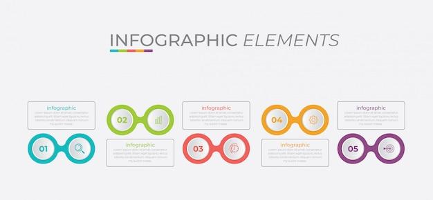 Modello di presentazione aziendale infografica con 5 opzioni.