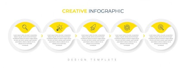 Modello di presentazione aziendale infografica con 5 opzioni