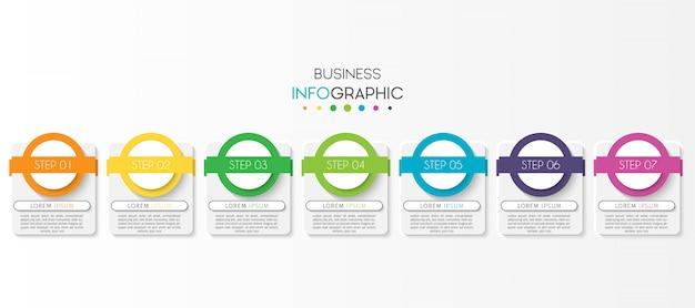 Modello di presentazione aziendale infografica con 7 opzioni o passaggi