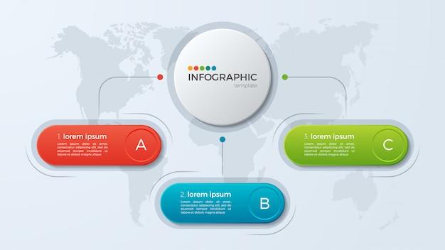 Modello di presentazione aziendale infografica con opzioni.