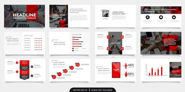 Modello di presentazione aziendale moderna grigio rosso con icona