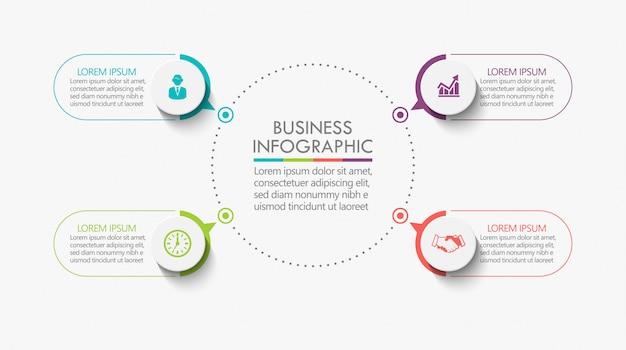 Modello di presentazione business cerchio infografica con 4 opzioni.