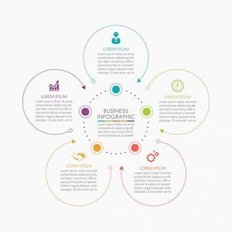 Modello di presentazione business cerchio infografica con 5 opzioni.