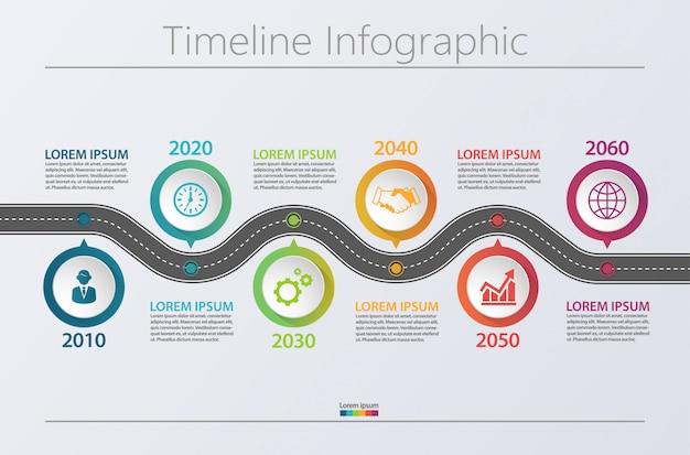 Modello di presentazione business road map infografica con 6 opzioni.