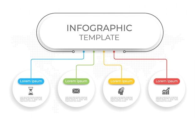Modello di presentazione infografica 4 opzioni.