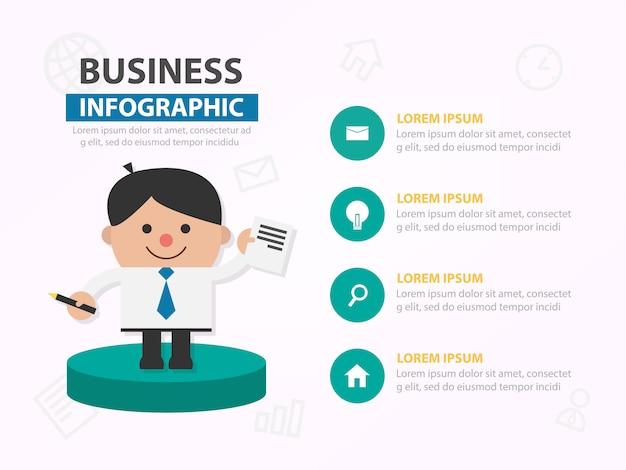 Modello di presentazione infografica fumetto uomo d'affari