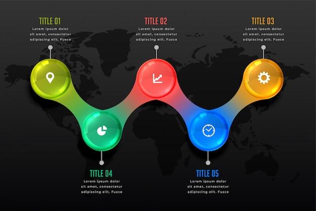 Modello di presentazione infografica scuro di cinque passi
