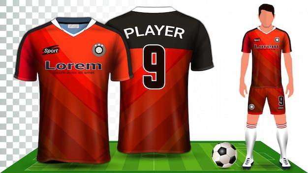 Modello di presentazione uniforme di maglia da calcio, maglia sportiva o kit da calcio.