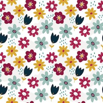 Modello di primavera con fiori colorati