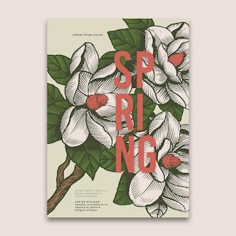 Modello di primavera con il concetto di fiori