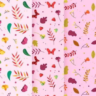 Modello di primavera disegnata a mano foglie ventose