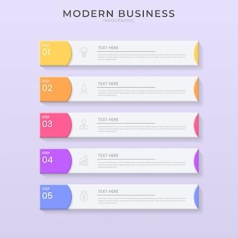 Modello di processo dell'organigramma di progettazione di infographic di stile del taglio della carta e 3d con testo editabile.