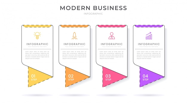 Modello di processo di infografica design piatto infografica design piatto