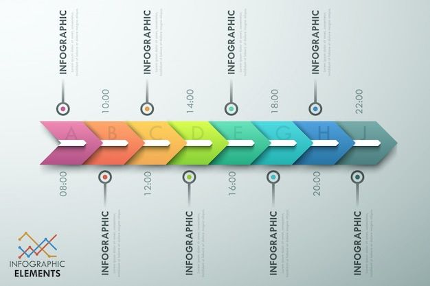 Modello di processo infografica minimal con frecce
