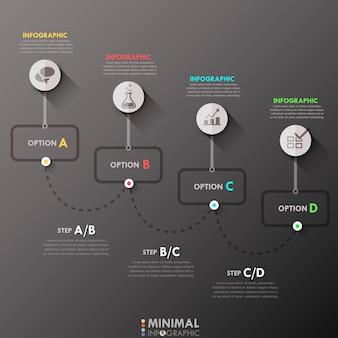Modello di processo infografica minimal