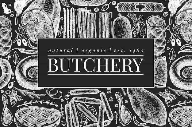 Modello di prodotti a base di carne vintage.