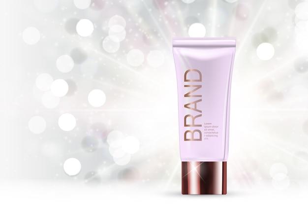 Modello di prodotti cosmetici di design per annunci o sfondo di riviste