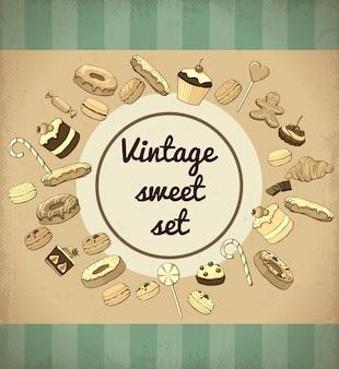 Modello di prodotti dolci e dessert vintage