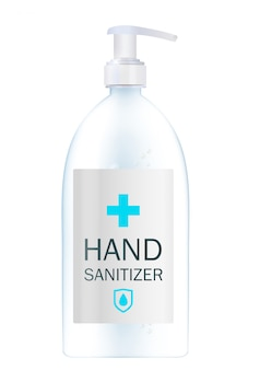 Modello di prodotto di cosmetici per annunci o sfondo di riviste. gel antibatterico, illustrazione realistica disinfettante per le mani