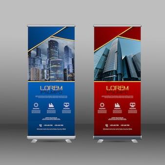 Modello di progettazione banner con forme astratte