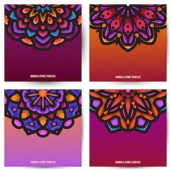 Modello di progettazione banner quadrato con bella arte mandala ornamentale