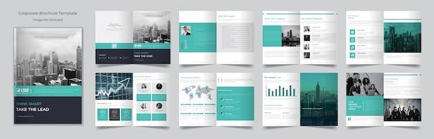 Modello di progettazione brochure business minimo di sedici pagine
