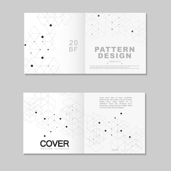 Modello di progettazione brochure. l'estratto collega la rete poligonale con punti e linee