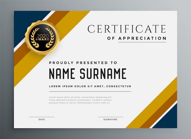 Modello di progettazione certificato multiuso oro e blu
